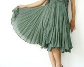 NO.6 Light Olive Cotton Asymmetric Skirt-Dress (2 Options skirt)