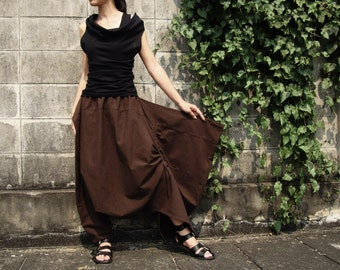 NO.26 Brown Cotton Asymmetric Harem Pants