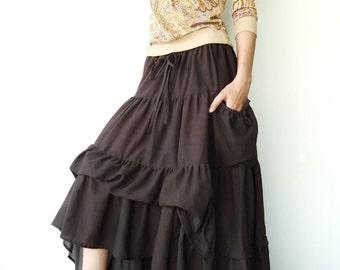 NO.42 Dark Brown Cotton Maxi Skirt (2 Options skirt)