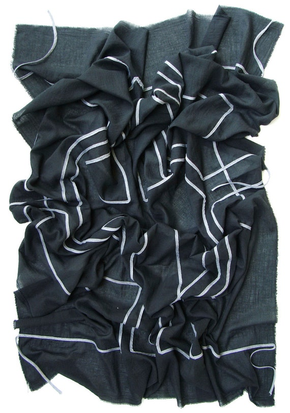 NO.1 Black/Grey Cotton Geometric Corded Striped Appliqué Over-Sized Scarf-Hand Dyed, Unisex Scarf