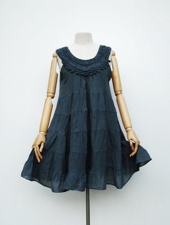 NO.7 Bluish-Grey Cotton Ribbon Embroidered Tunic Dress