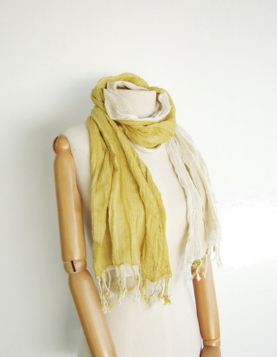 NO.12 Unisex Two-Tone Light Yellow/Cream Cotton Gauze Double Layer Scarf-Hand Dyed