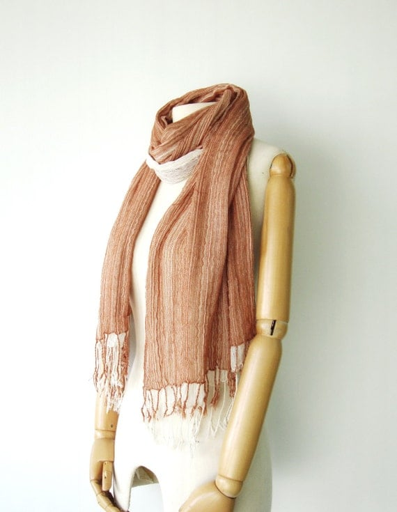 NO.12 Unisex Two-Tone Terracotta/Cream Cotton Gauze Double Layer Scarf-Hand Dyed