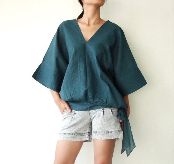 NO.13 Teal Cotton V-Neck Top
