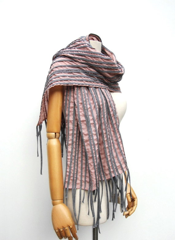 NO.3 Unisex Dusty Rose/Grey Cotton Corded Striped Appliqué Scarf