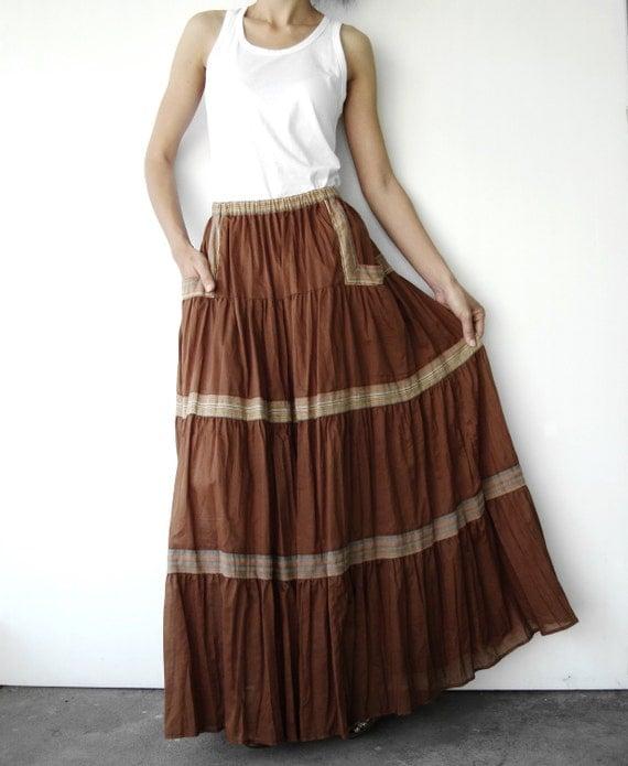 NO.41 Terracotta Muslin Cotton Tiered Peasant Maxi Skirt