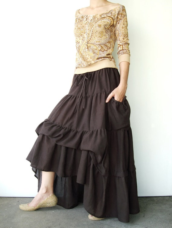 NO.42 Dark Brown Cotton Maxi Skirt (2 Options skirt)