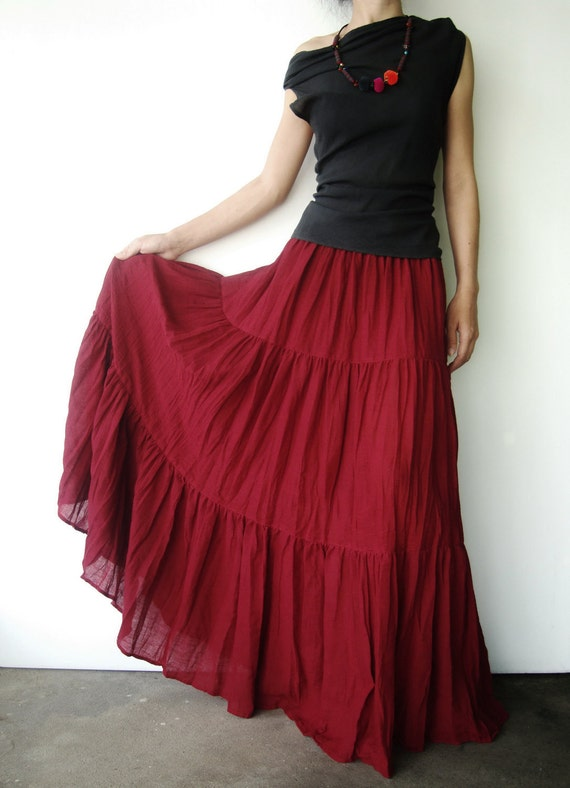 NO.5 Deep Red Cotton Gauze, Hippie Gypsy Boho Tiered Long Peasant Skirt