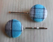 Set of Blue Checkered Upcycled Fabric Covered Button Bobby Pins