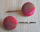 Set of Red and Tulle Fabric Covered Button Bobby Pins