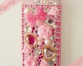 Kawaii x Couture Pink Roses, Gems, & Bow Decoden iPhone 4/4S Case