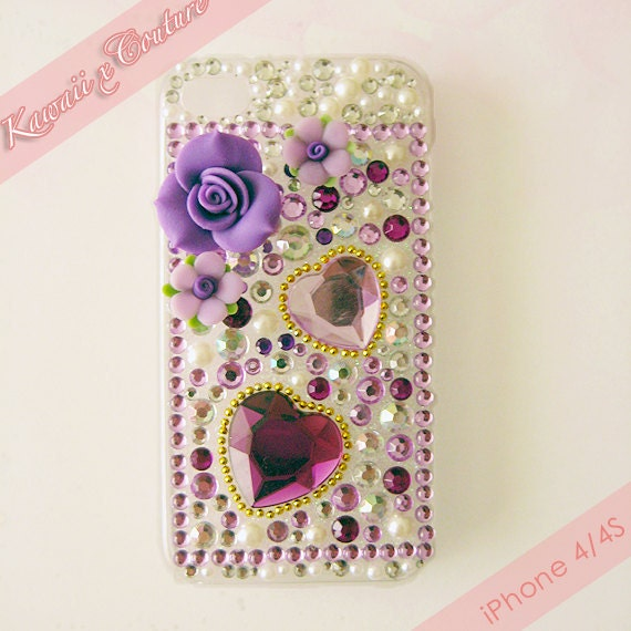 Kawaii x Couture Purple Big Bling Hearts, Roses, & Pearls Decoden iPhone 4/4S Case