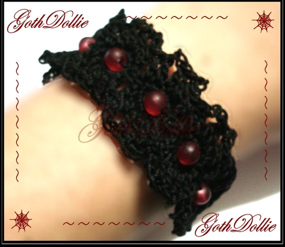 Goth Black Crochet and Glass beads tie Bracelet