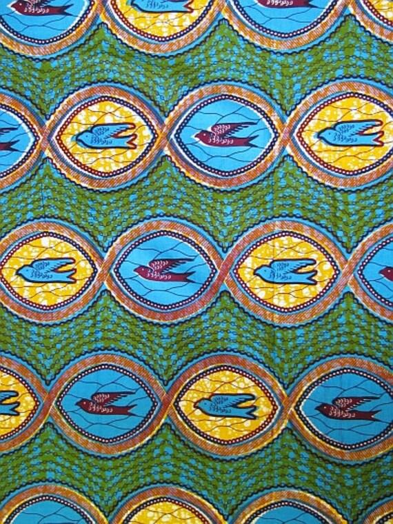 Exquisite teal blue and orange african wax print / batik / ankara fabric by  the yard - high quality Julius holland dutch