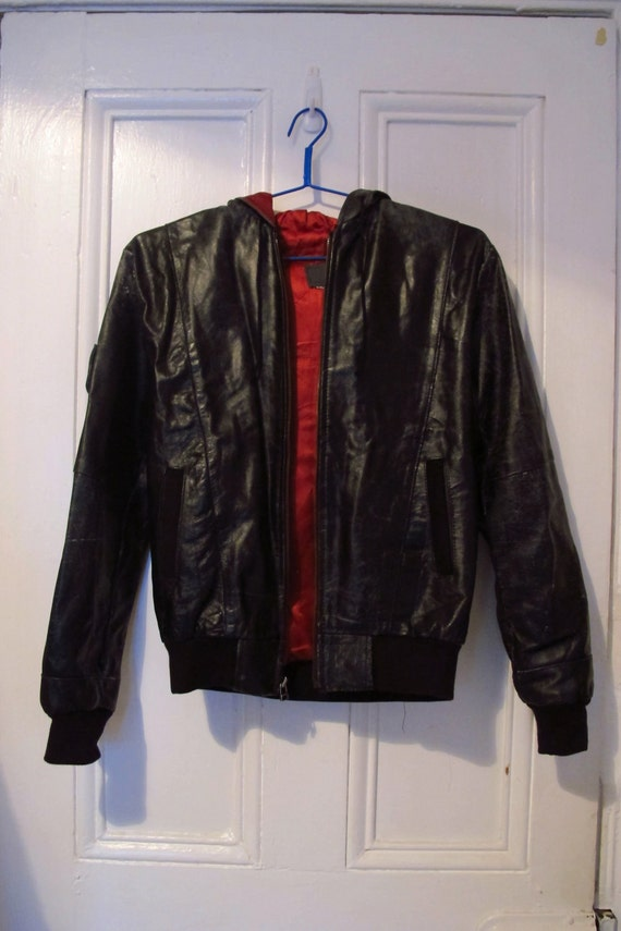 Vintage Black Leather Jacket with Hood, satin lining
