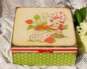 """Jewelry box  """" Girl with a cart full of strawberries """" / Decoupage technique box vintage, retro looking.. Shabby chic rustic style"""