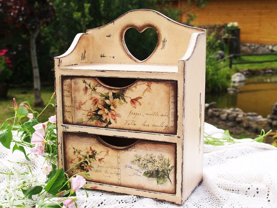 """Handmade Commode Cabinet box for spices , tea bags. Storage for kitchen """" Peace in provence """" Decoupage technique shabby chic Rustic style"""