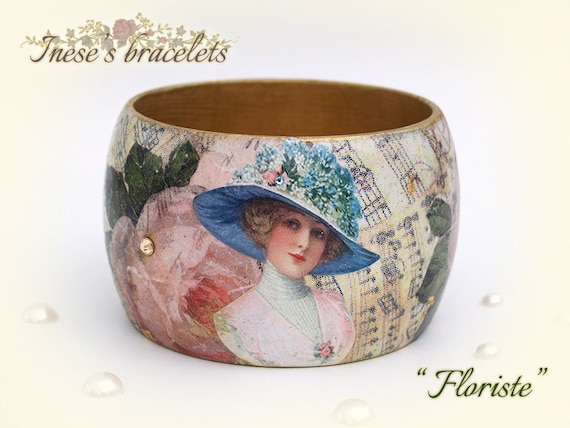 Shabby Chic Wooden Bracelet with Swarovski Crystals Flower Jewelry Pink Roses Bangle Collage Vintage Decoupage Hand Painted