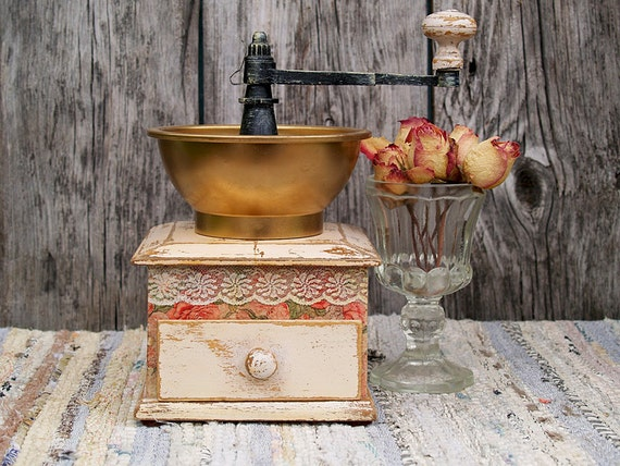 Antique Coffee Grinder , Decorative Wood Coffee Mill , Real Authentic 1950s Grinder , Vintage Kitchen Decor,Decoupage, Unique Shabby Chic