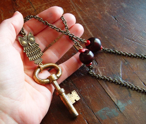 Owl Lock You Up -- Big Brass Key and Owl Necklace