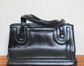 CLEARANCE - Vintage black faux leather handbag. Faux Leather purse. 1980s purse