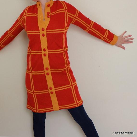 Mod Dress - 60s dress - Checkered dress - High neckline dress - Sweater dress