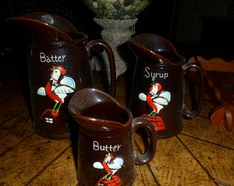 Vintage Ceramic Pancake Set with Roosters