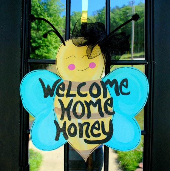 Door Hanger: Summer Door Decoration, Bumble Bee, sale, destash