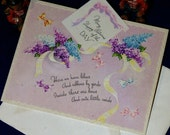 Vintage Happy Birthday Embossed Die Cut Lilac Greeting Card & Envelope 1940s 1950s Unused