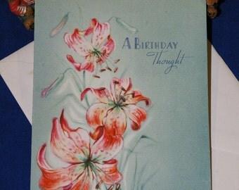 Vintage Happy Birthday Embossed Day Lilies Greeting Card & Envelope 1940s 1950s Unused
