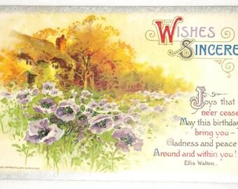 Antique Winsch Embossed Birthday Greetings Postcard Cottage Flower Garden 1910