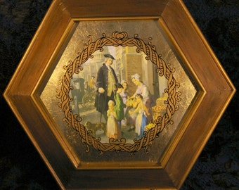 Vintage 1940s Hexagonal Gold Wood Framed Colonial Victorian Art Picture 3