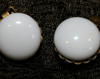 Vintage 1950s 1960s White Cabochon on Gold Tone clip-On Earrings Stamped Made in Japan