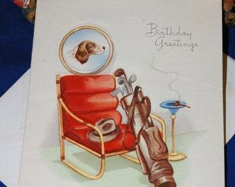 Vintage Happy Birthday Embossed Greeting Card & Envelope Man Fedora Dog Pipe Golf 1940s 1950s Unused
