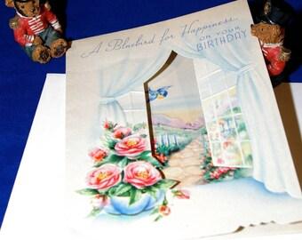 Vintage Happy Birthday Embossed Die Cut Greeting Card & Envelope 1940s 1950s Unused