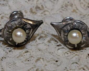 Vintage Sterling Silver Diamond Cut Glass Pearl Screw Back Tear Drop Earrings 1950s  Marked Marvel
