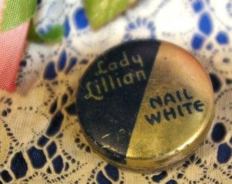Vintage Lady Lillian Nail White Manicure Miniature Tin Compact 1930s
