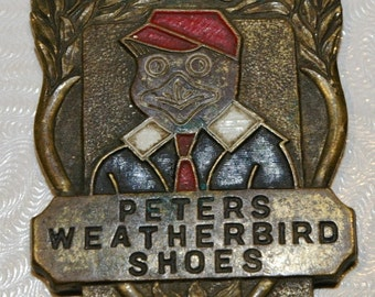Vintage Peters Weatherbird Shoes Advertising Leather Watch Fob FH Noble & Co Chicago 1940s