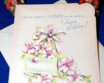 Vintage Happy Birthday Dearest Husband Embossed Greeting Card & Envelope 1940s 1950s Unused