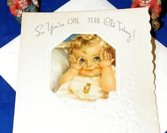 Vintage Happy Birthday One Year Old Embossed Greeting Card & Envelope 1940s 1950s Unused
