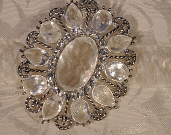 Large Vintage Multi-Faceted Cut Glass Crystal with Rhinestones Diamante on Silver Tone Pin Brooch Signed Monet 1950s Stunning!