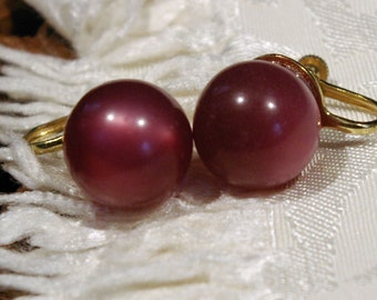 Vintage 1950s Earrings Large Round Deep Rose Pink with a Purple Hue Screw Back Earrings with Gold Tone Backing