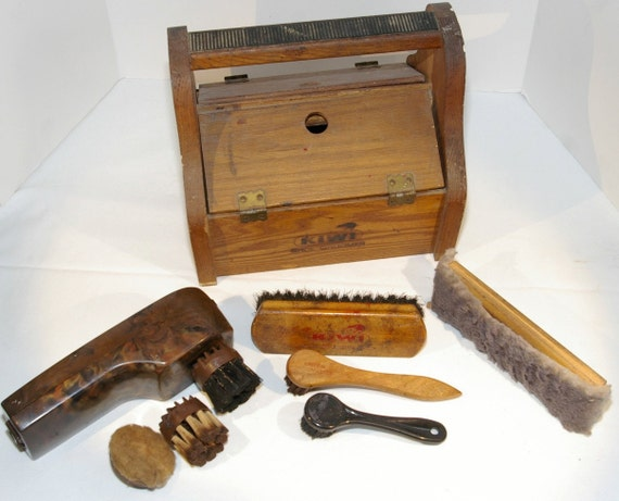 Kiwi Advertising Shoe Groomer Vintage Shoe Shine Box or Kit with Brushes and applicators from 1950s.