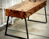 "Bench - Reclaimed Barn Wood - Spruce - Raw Steel Legs - ""The Cogg"""