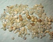 Supplies Over 100 White Cream Pearl Bead Destash Beads, Many Shades, Ceramic Cracked Pearl Glass Plastic
