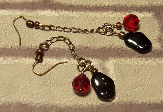 Earrings Red Black, Red Ruby 10mm Faceted Round Glass, Black Jet Natural Shape 12x16mm Glass