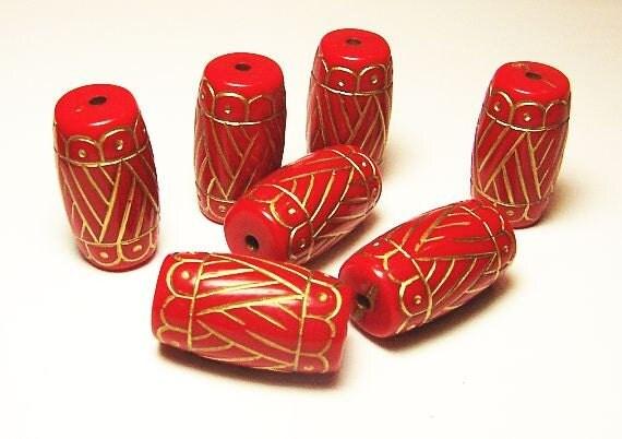 Gold Design on Red Orange 26mm x 17mm Beads (Qty.7)