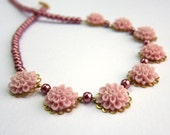 Girls Rose Pink Flower and Pearl Necklace