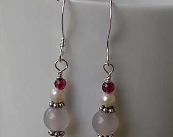 Handmade Light Purple Agate Earrings