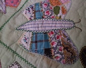 FREE SHIPPING/USA Hand quilted, all hand-made feed sack butterfly crazy quilt